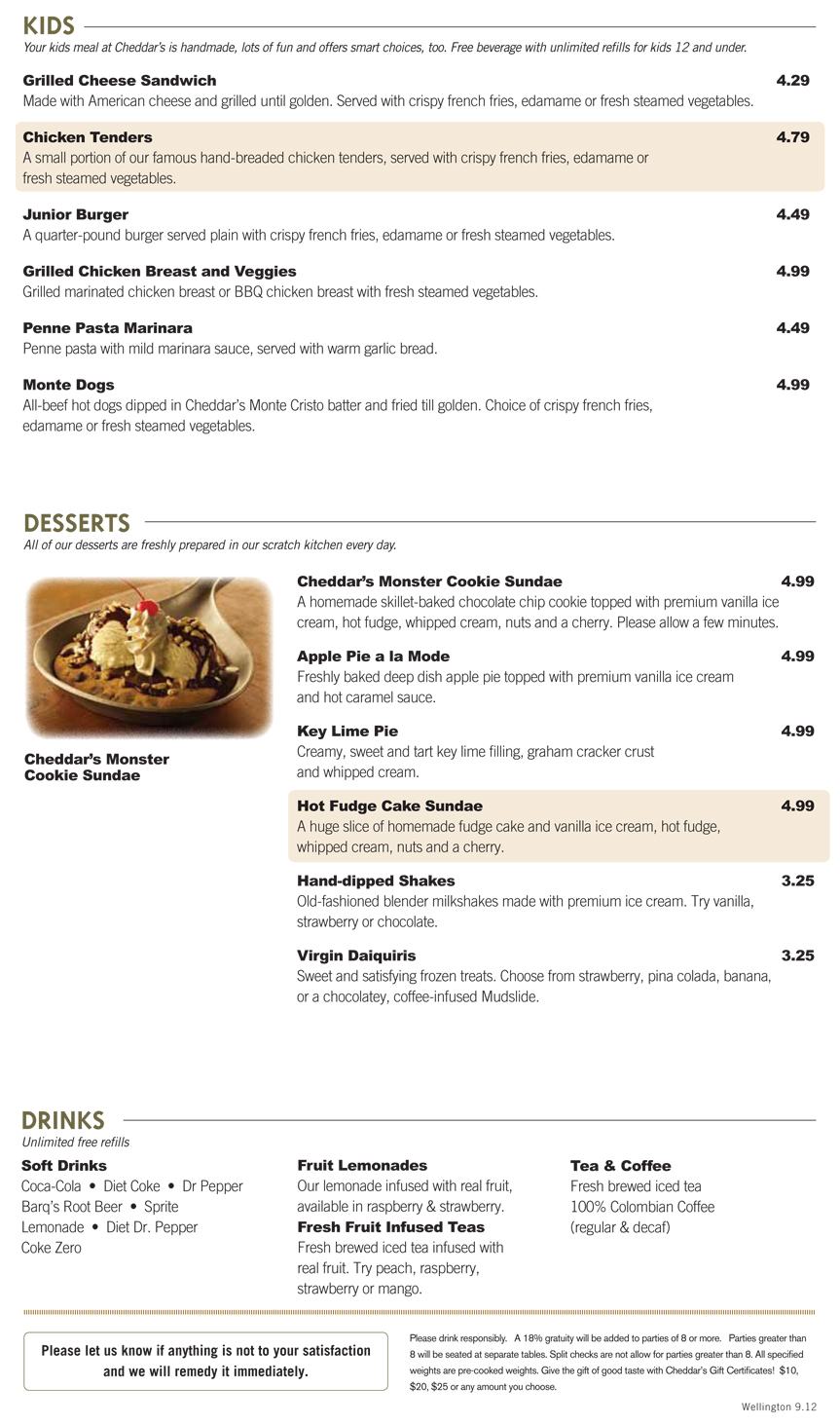 Cheddars Kitchen Menu