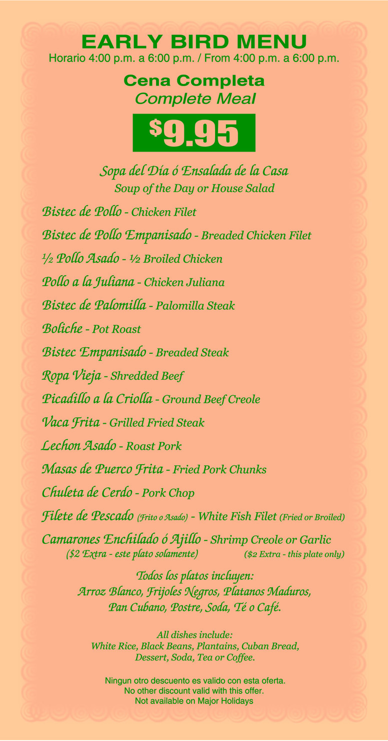 The Cuban Cafe Menu